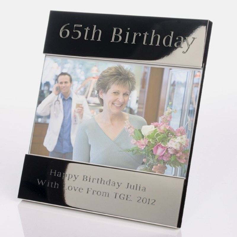 Personalised 65th Birthday Shiny Silver Photo Frame product image