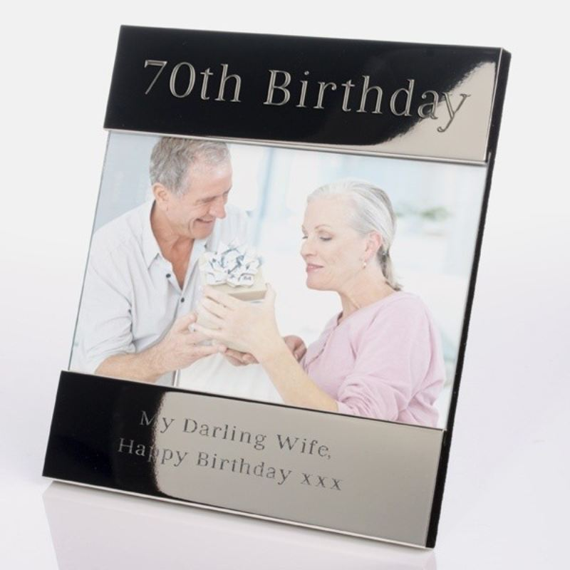Personalised 70th Birthday Shiny Silver Photo Frame product image