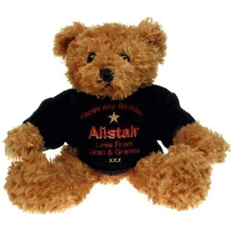 Personalised 80th Birthday Brown Teddy Bear: Blue Jumper product image