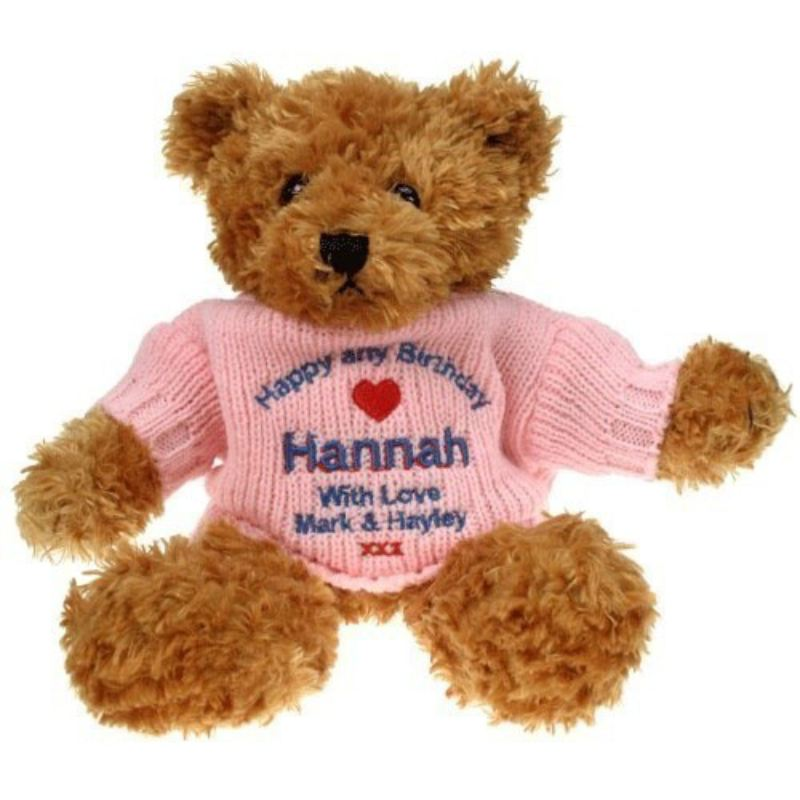 Personalised 80th Birthday Brown Teddy Bear product image