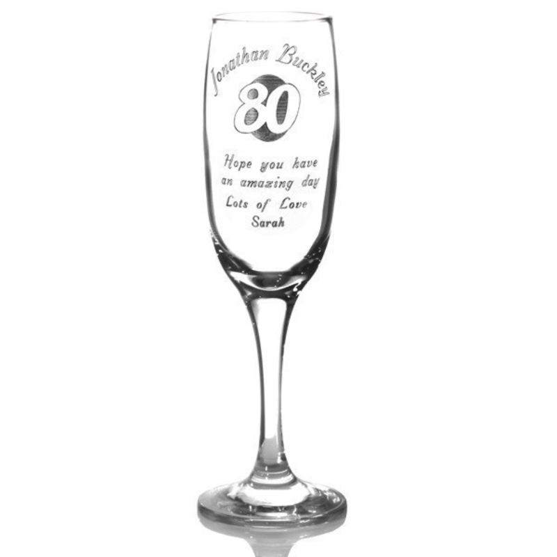 Personalised 80th Birthday Champagne Flute product image