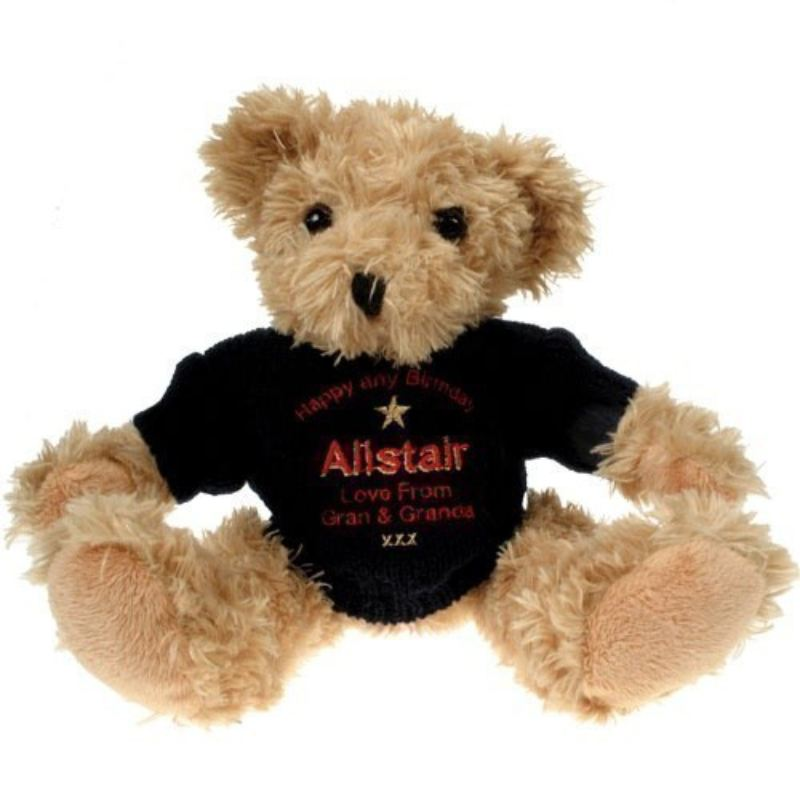 Personalised 90th Birthday Light Brown Teddy Bear: Blue Jumper product image