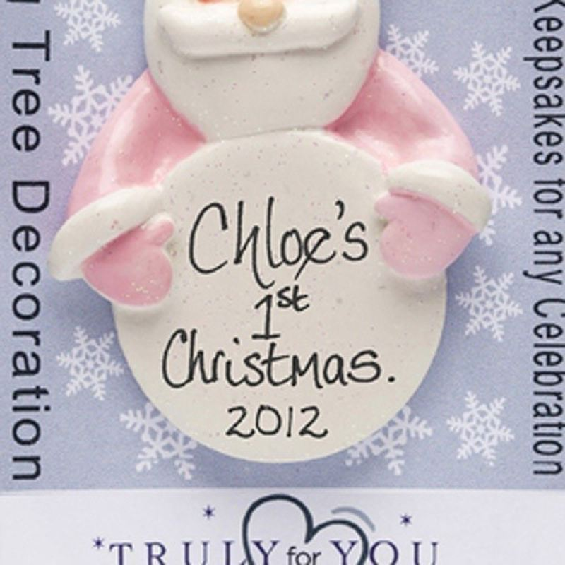 Personalised Baby's First Christmas Santa Ornament -Pink product image