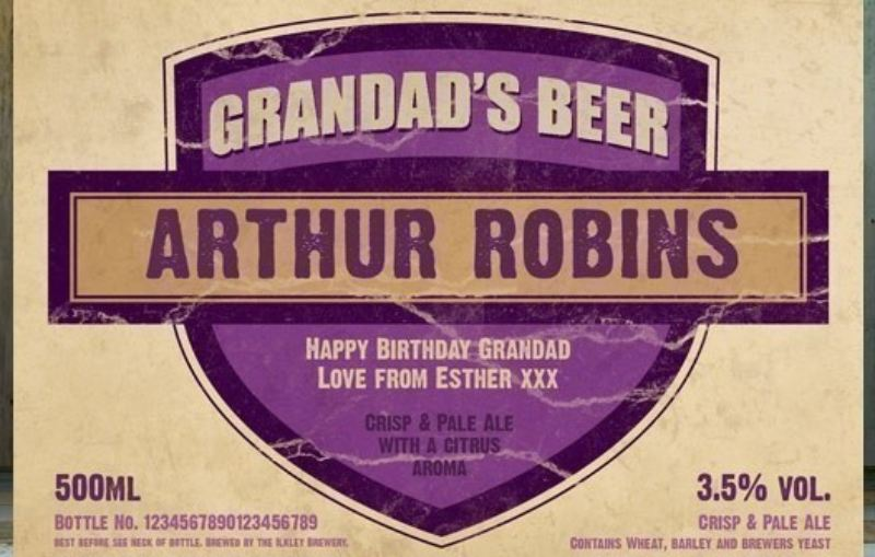 Personalised Beer 3 pack Grandad's Beer Set Label product image