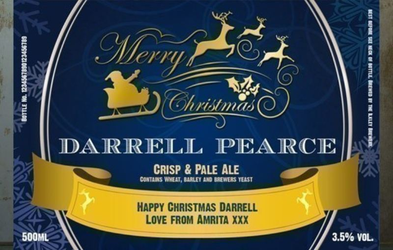 Personalised Beer Triple Pack - Christmas Design Label product image