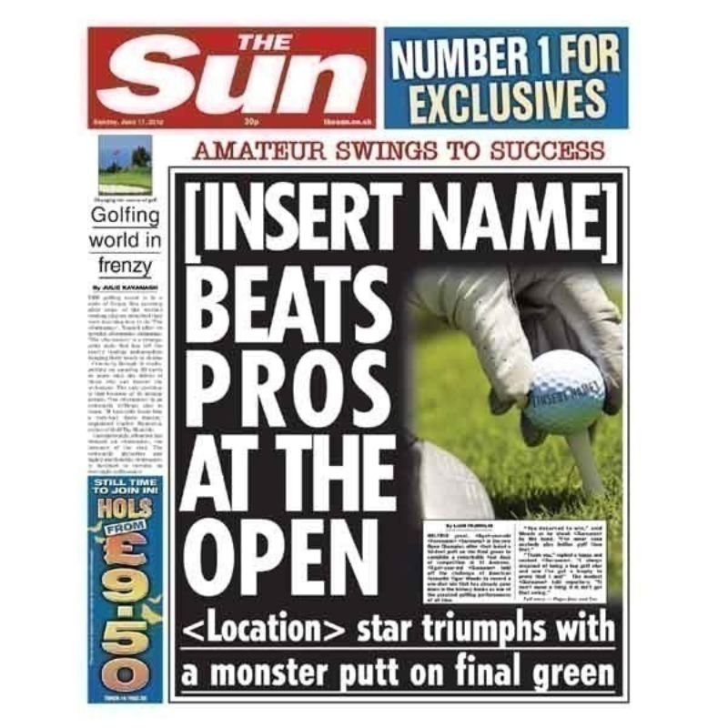 Personalised Best Golfer Sun Newspaper Spoof product image
