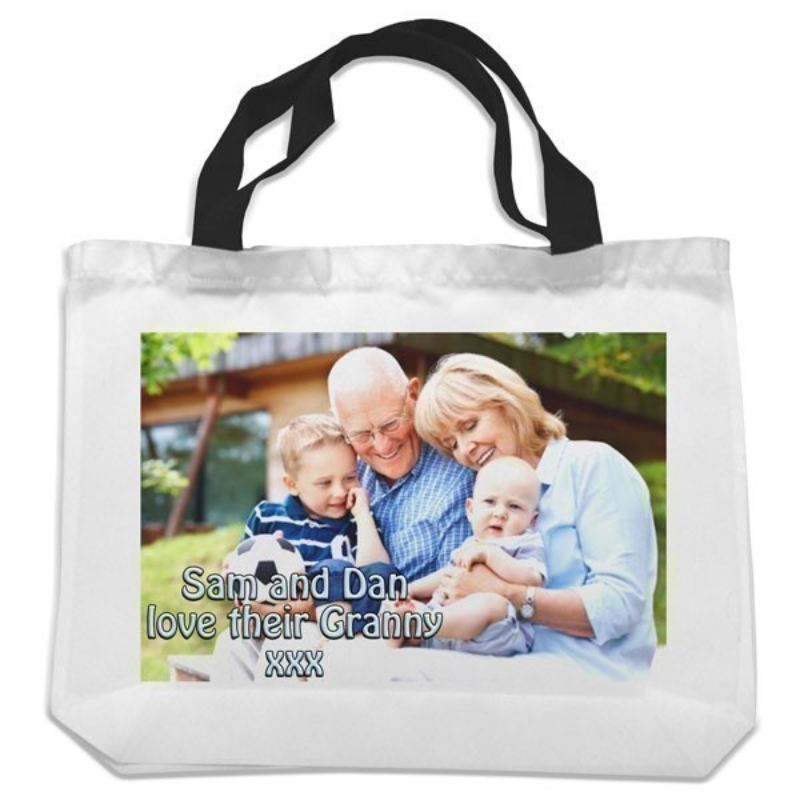 Personalised Black Handled Shopping Bag product image