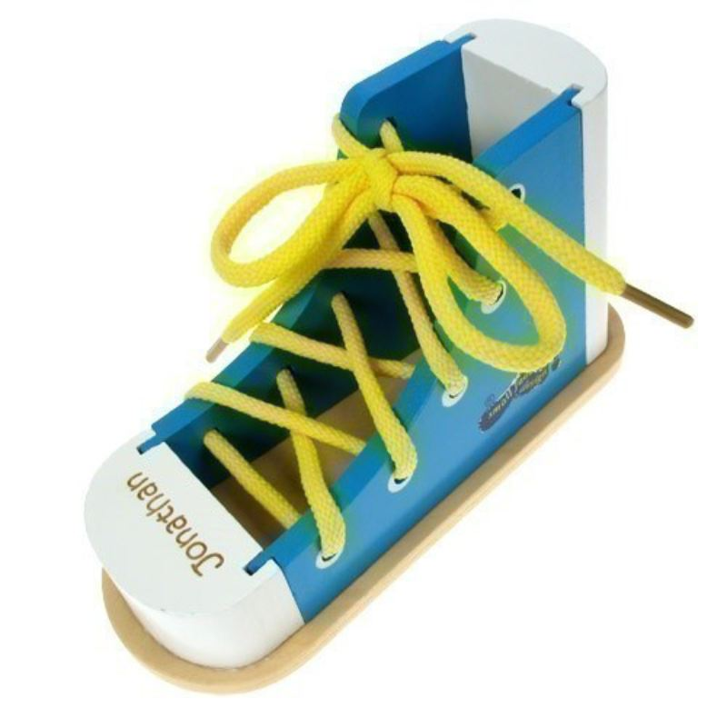 Personalised Blue Wooden Shoe Lacer product image
