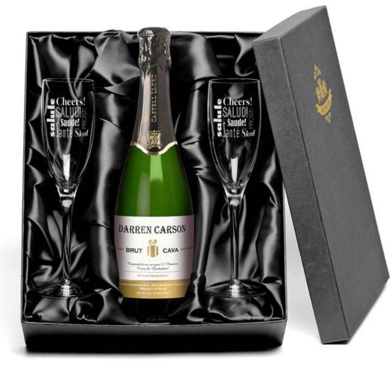 Personalised Bottle of Cava and Engraved Glasses product image