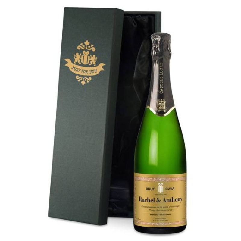 Personalised Cava Classic Gold Label in a Silk Lined Gift Box product image