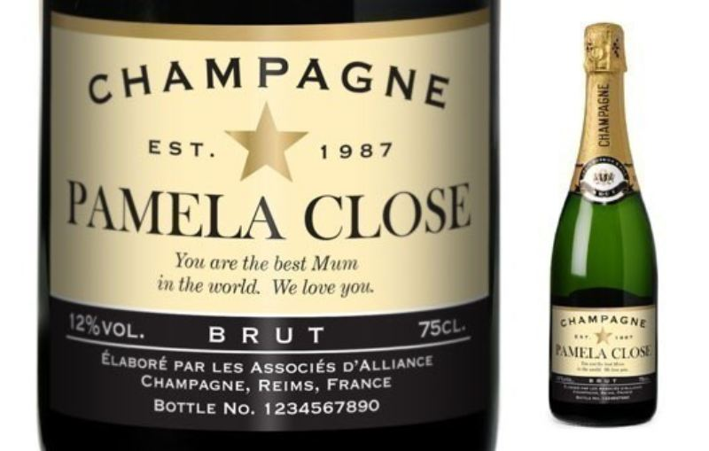 Personalised Champagne - Authentic Star Label in a silk lined Gift Box product image