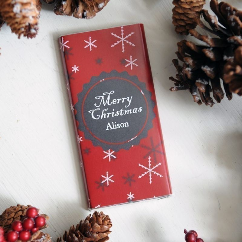 Personalised Christmas Chocolate Bar - Snowflakes product image