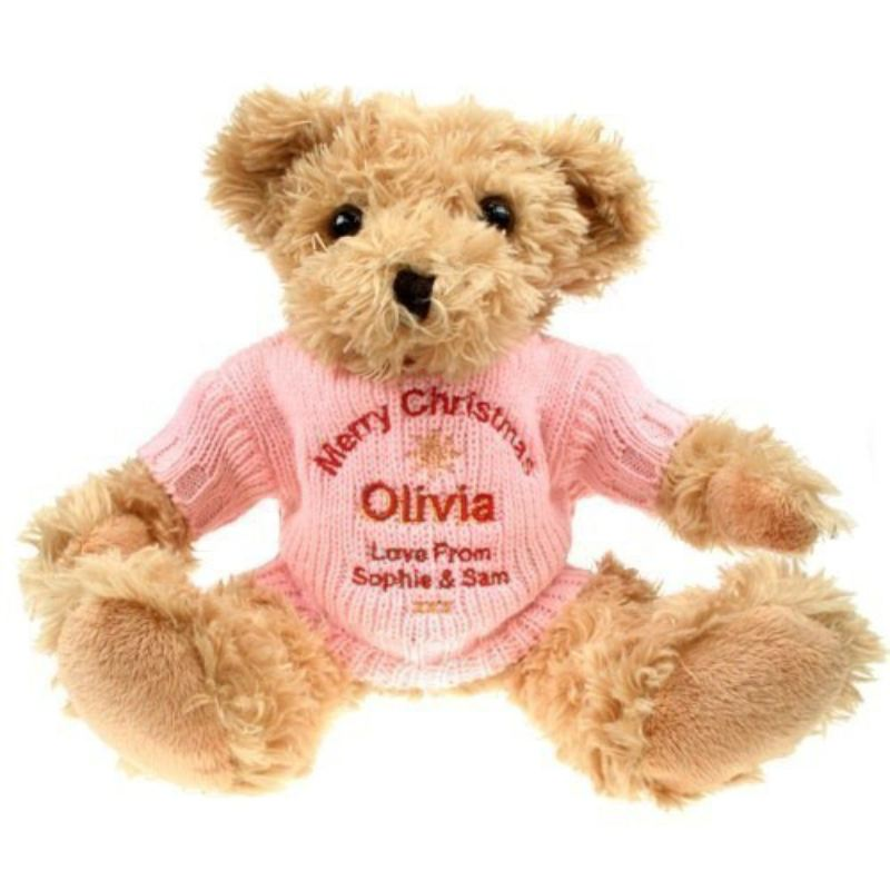 Personalised Christmas Light Brown Teddy Bear product image