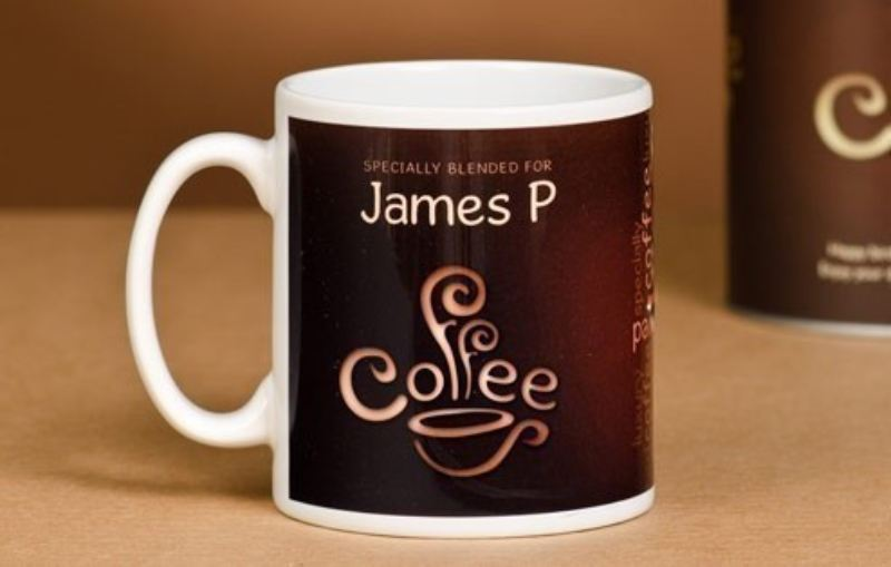 Personalised Coffee Lovers Mug Coffee Bean Design The