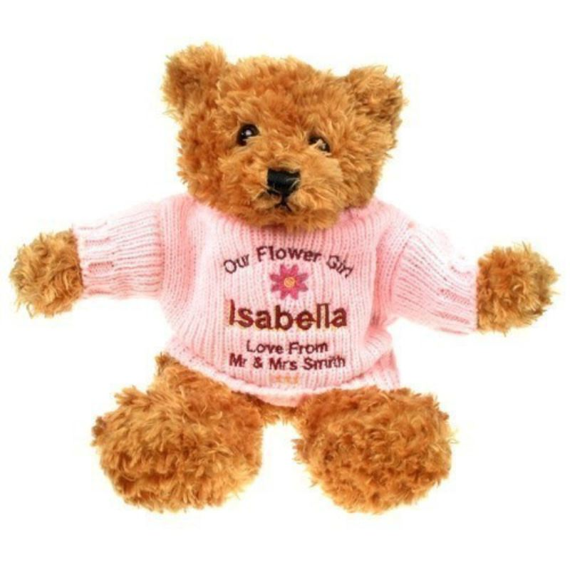 Personalised Flower Girl Brown Teddy Bear product image