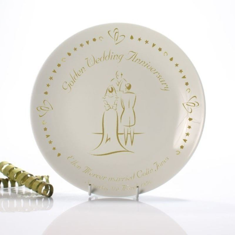 Personalised Golden Anniversary Plate product image