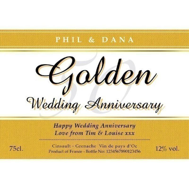 Golden Wedding Gift Ideas Uk: Personalised Golden Wedding Anniversary Rose Wine