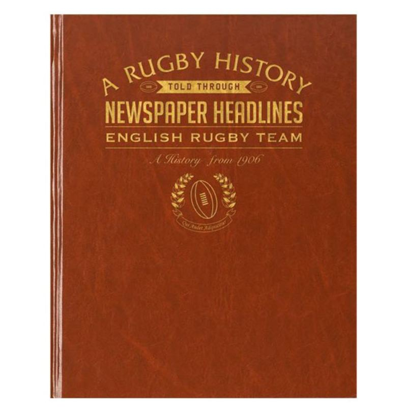 Personalised History of English Rugby Newspaper Book - Brown Leatherette product image