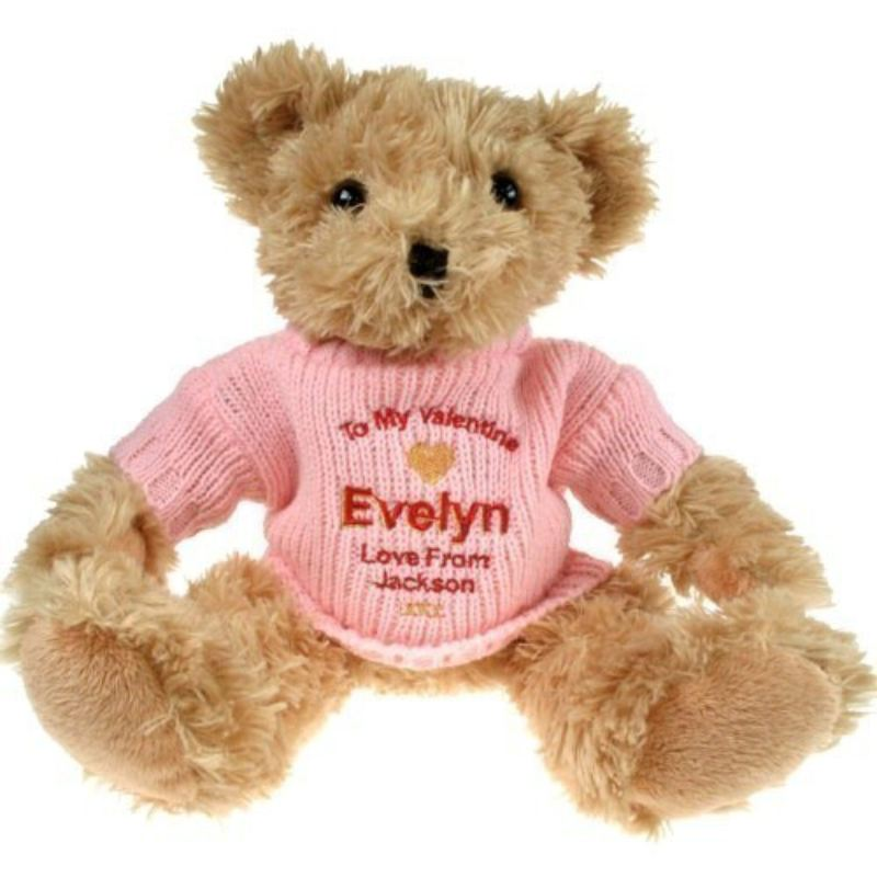 Personalised Light Brown Valentine S Day Teddy Bear For Her The