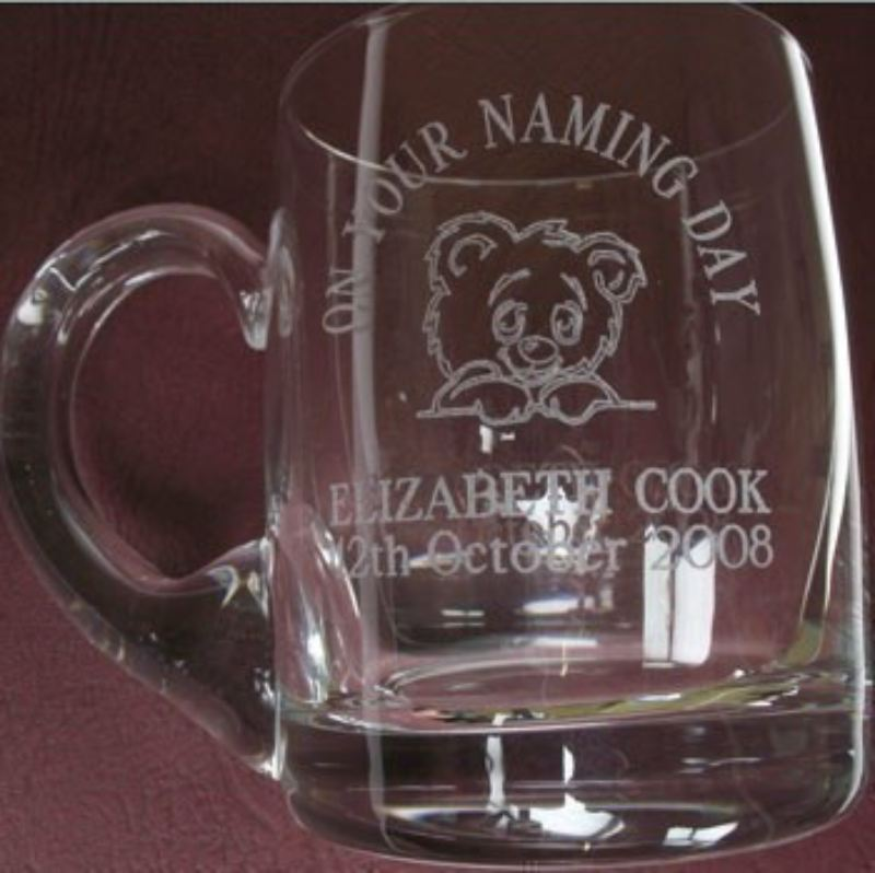 Personalised Miniature Christening Glass Teddy Tankard product image