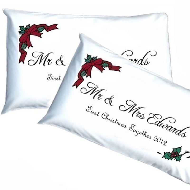 Personalised Mr & Mrs 1st Christmas Pillowcases product image