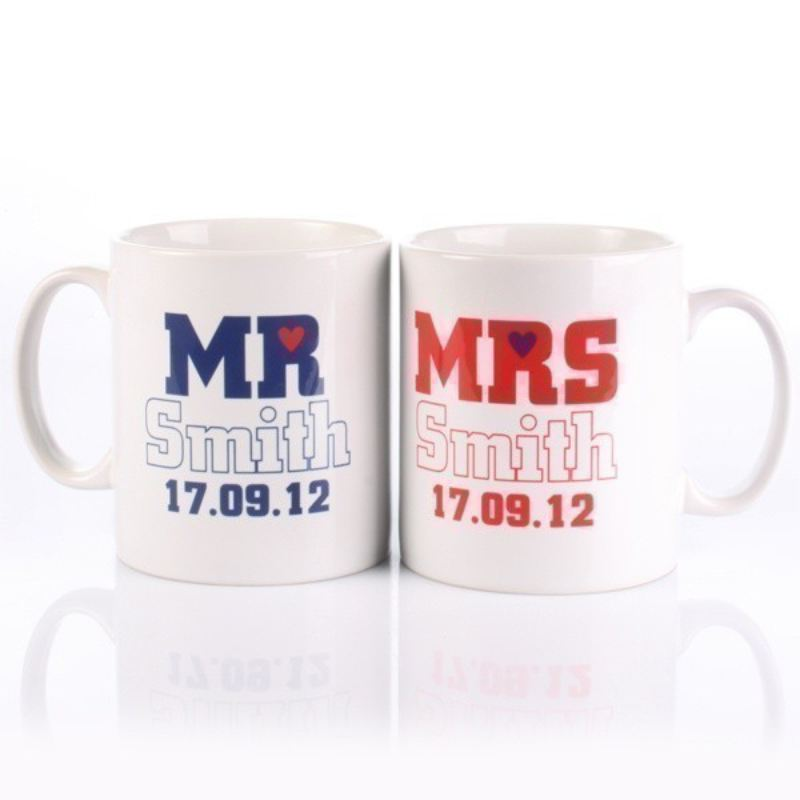 Personalised Mr & Mrs Little Heart Mugs product image