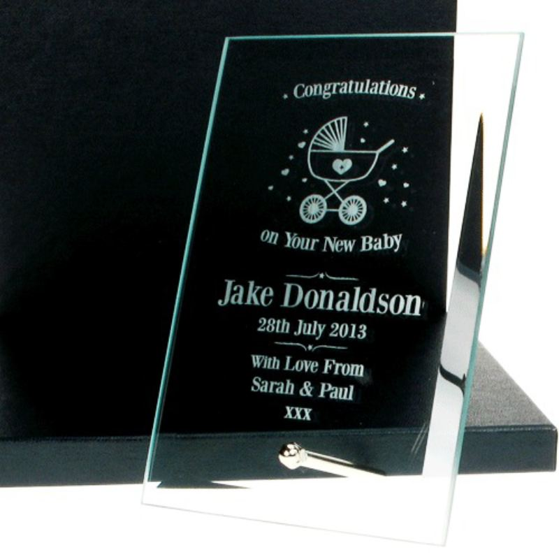 Personalised New Baby Glass Plaque product image