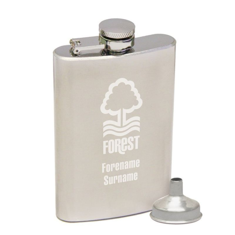 Personalised Nottingham Forest Crest Hip Flask product image