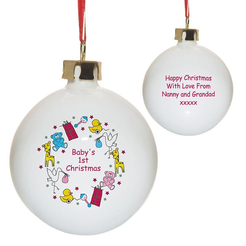 Personalised Nursery Scene Baby's 1st Christmas bauble ...