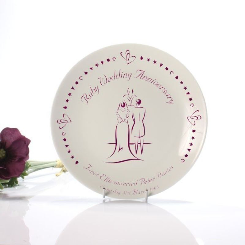 Personalised Ruby Anniversary Plate product image