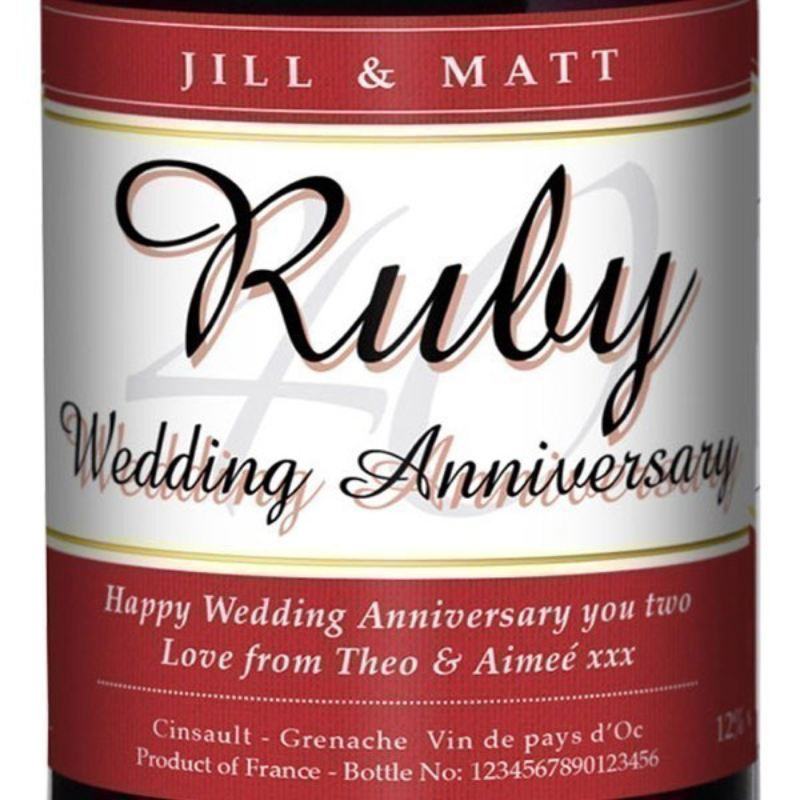 Personalised Ruby Wedding Anniversary Red Wine product image