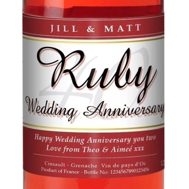 Personalised Ruby Wedding Anniversary Rose Wine product image