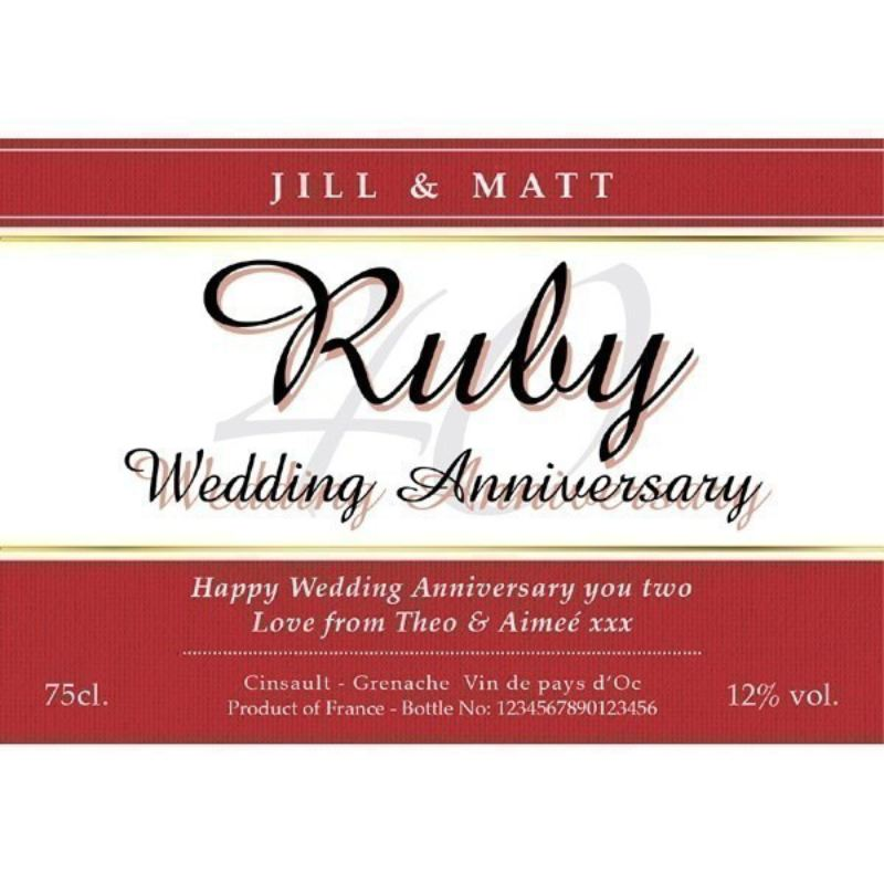 Personalised Ruby Wedding Anniversary White Wine product image