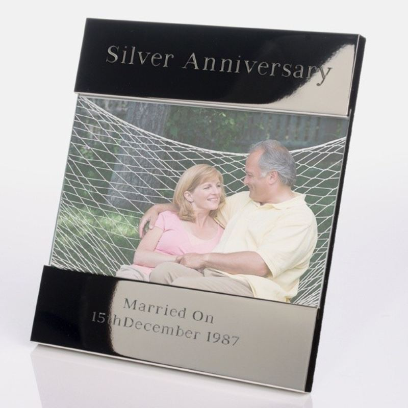 Personalised Photo Frame Wedding Gift: Personalised Silver Anniversary Shiny Silver Photo Frame