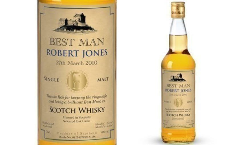 Personalised Single Malt Whisky Wedding Label in a Silk Lined Box product image