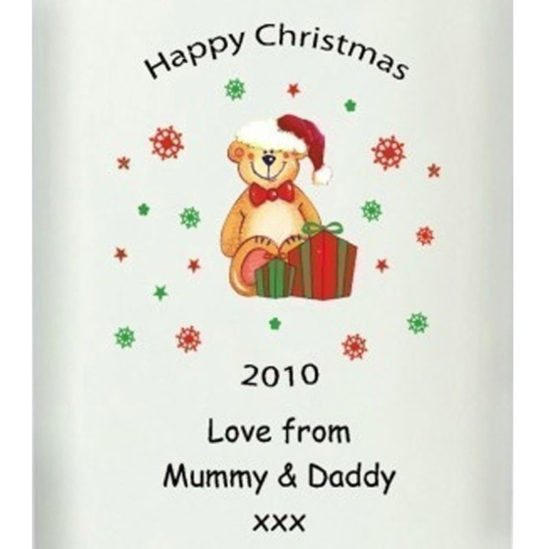 Personalised Teddy Design Christmas Candle product image