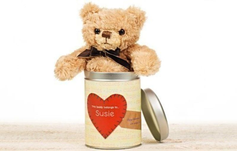 Personalised Teddy in a Tin - Any occasion heart product image