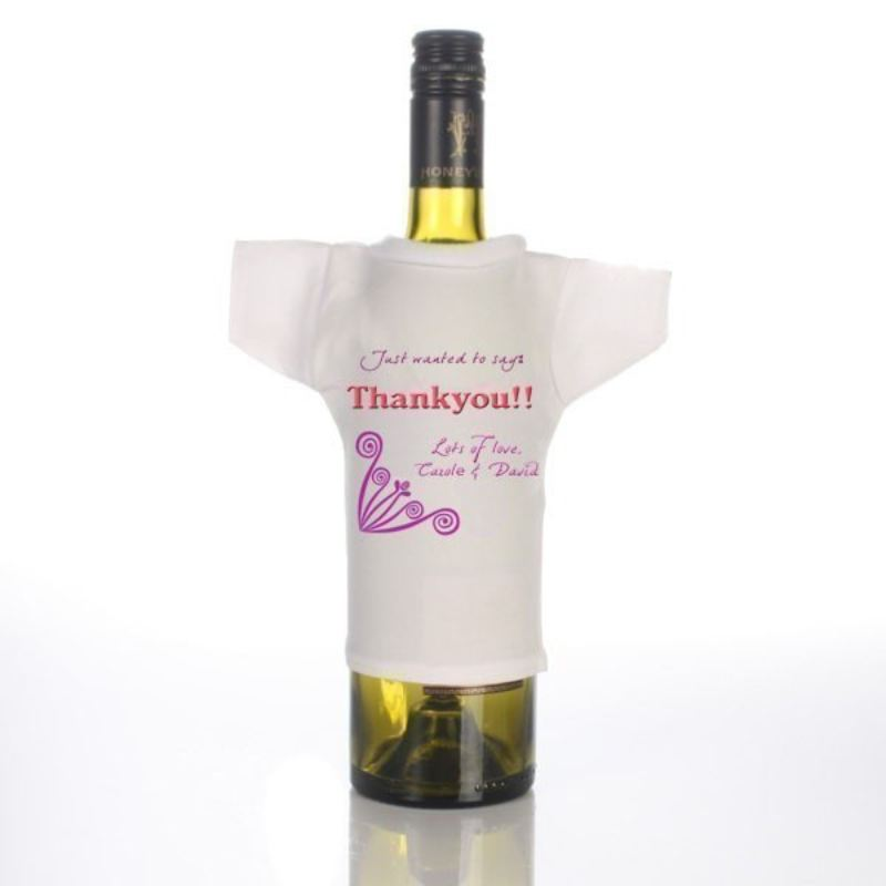 Personalised Thank You Wine Bottle T-Shirt product image