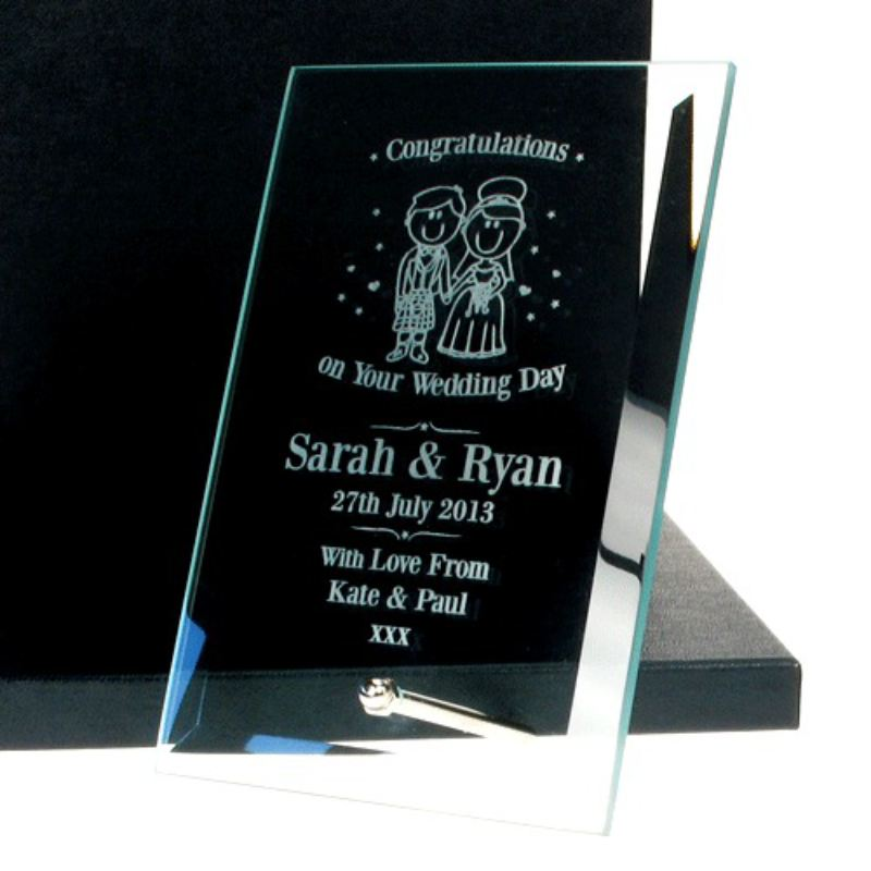 Personalised Wedding Glass Plaque: Scottish product image