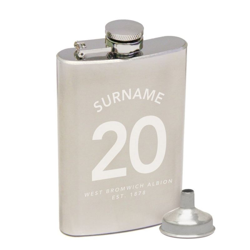 Personalised West Bromwich Albion Name on Shirt Hip Flask product image