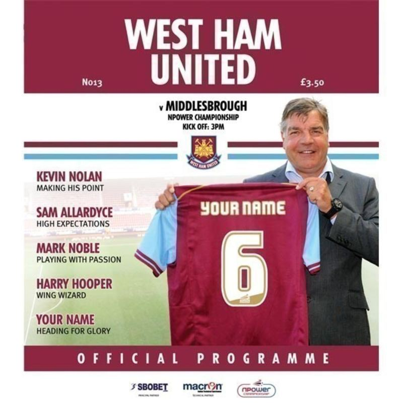 Personalised West Ham United Match Day Programme product image