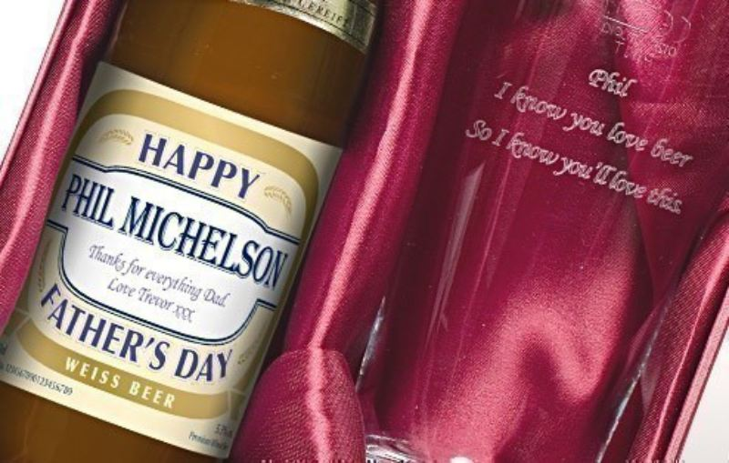 Personalised Wheat Beer Label - Father's Day Gift Set product image