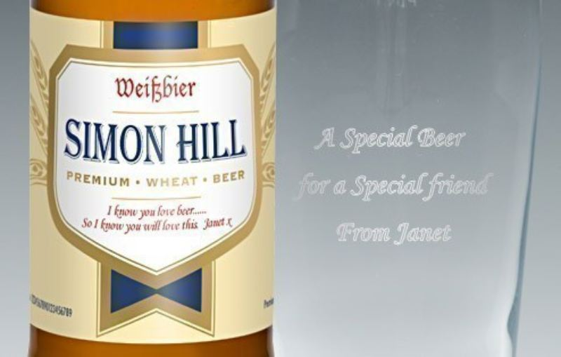 Personalised Wheat Beer Label - Modern Gift Set product image