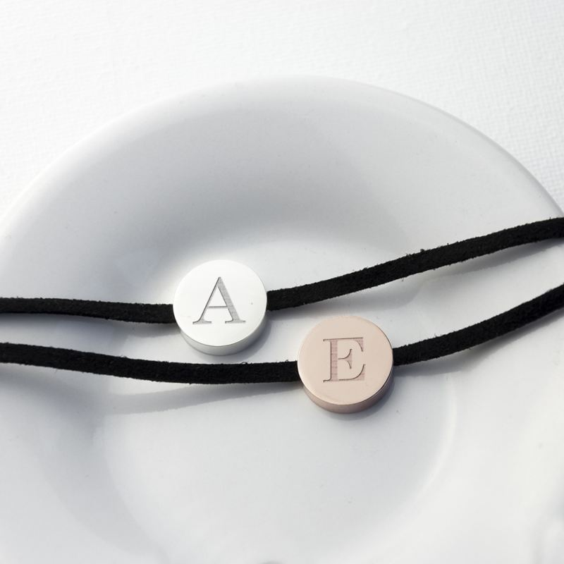 Personalised Always With You Bracelet Black With Rose Gold Tag product image