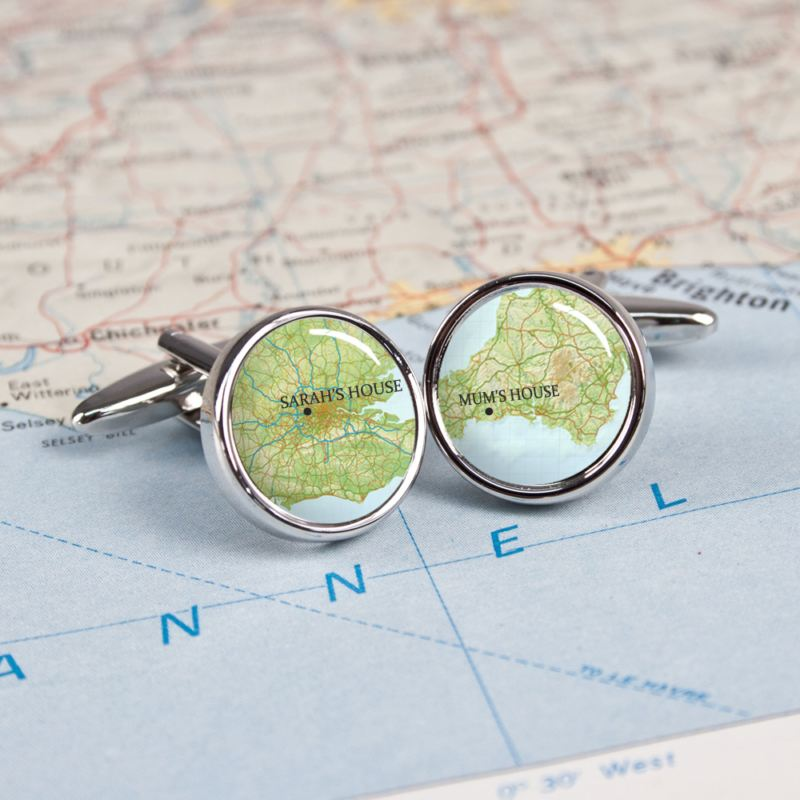 Personalised Atlas Style Map Cufflinks product image