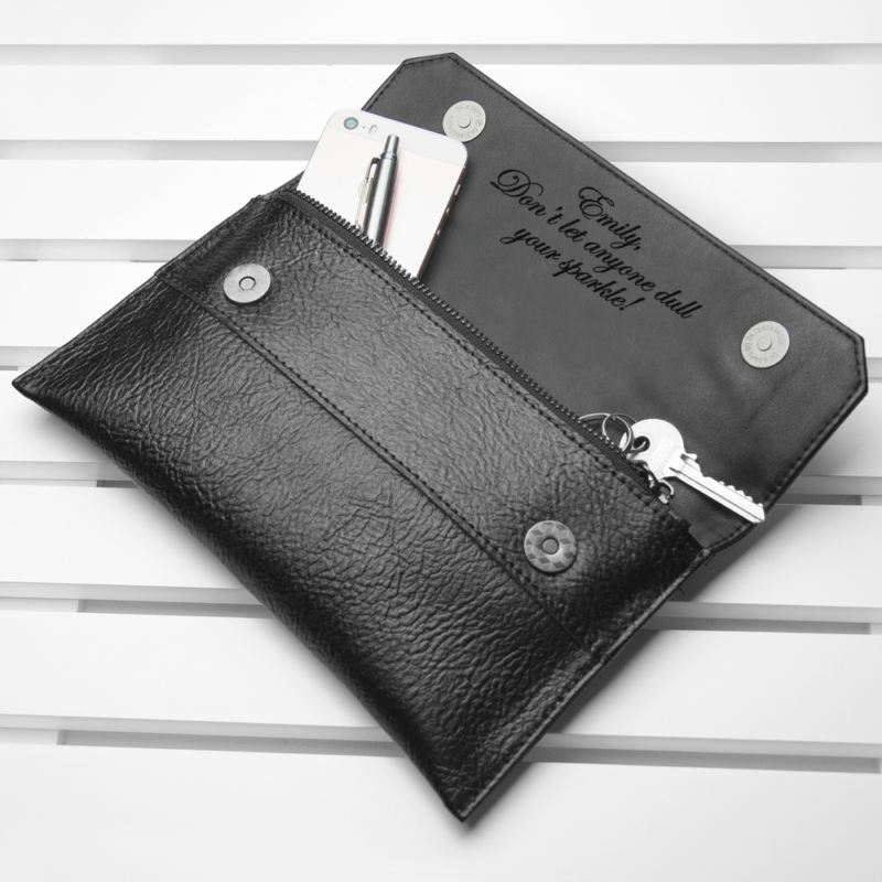 Personalised Black Leather Clutch Bag product image