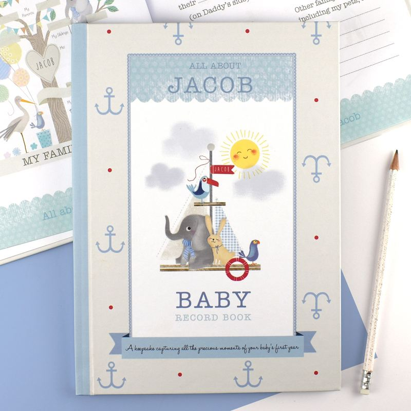 Personalised Boys Baby Record Book product image