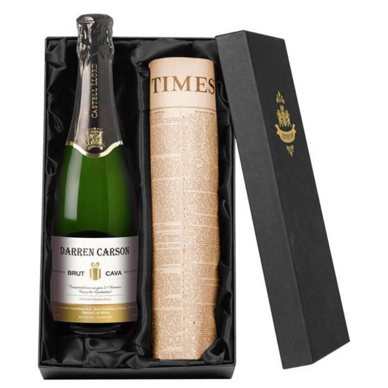 Personalised Bottle of Cava and Newspaper product image