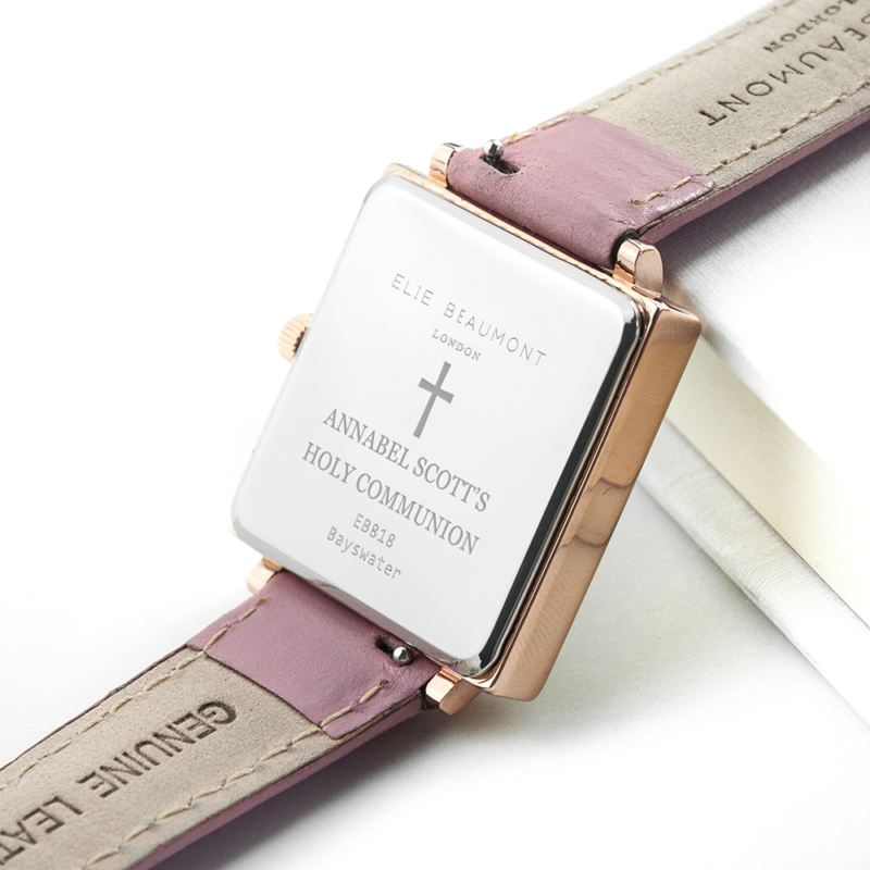 Personalised Holy Communion Pink Blush Leather Watch product image
