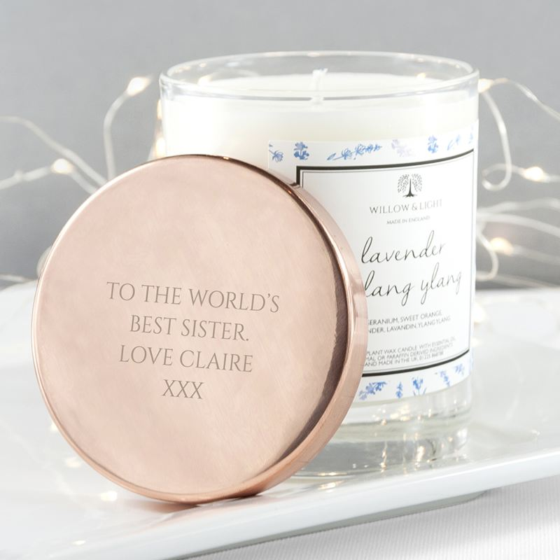 Personalised Lavender & Ylang Ylang Candle With Copper Lid product image